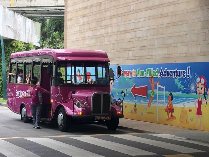Sentosa Island's shuttle bus service takes you between beaches