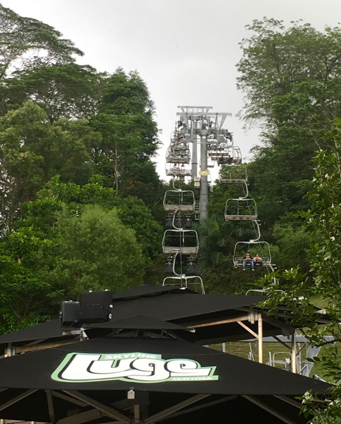 The sky ride which takes you high up above Sentosa to the luge
